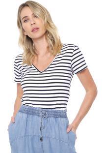 Camiseta Forum Listrada Branca/Azul-Marinho