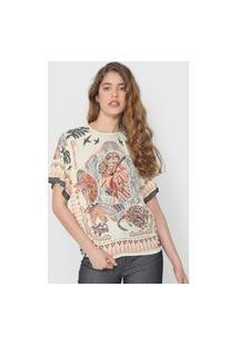 Camiseta Colcci Estampada Off-White/Marrom