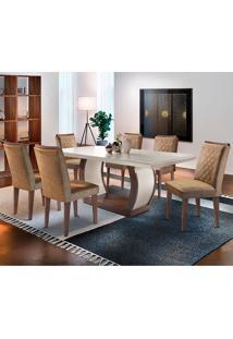 Conjunto De Mesa Com 6 Cadeiras Jade-Rufato - Animalle Chocolate / Off White / Café