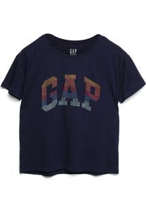Camiseta Gap Logo Aplicações Azul-Marinho