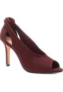 Peep Toe Couro Shoestock Nobuck Salto Fino - Feminino-Vinho