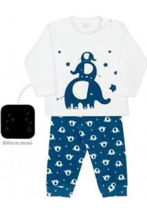 Pijama Infantil Dedeka Soft Elefante Brilha Escuro Masculino - Masculino-Branco+Azul