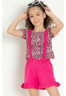 Conjunto Infantil Blusa Onça E Jardineira Pink