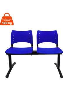 Cadeira Longarina 2 Lugares Azul Evidence Executiva