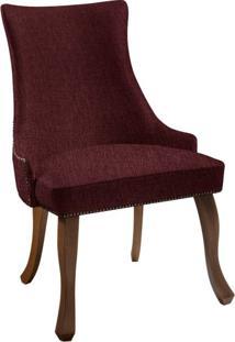 Cadeira De Jantar Leonardo Da Vinci Iii Liso Linho Marsala