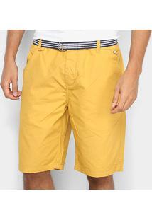 Bermuda Vr Chino Paper Com Cinto Masculina - Masculino-Amarelo
