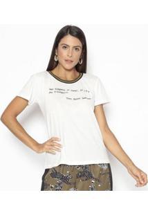 Camiseta Estampada Yvs Feminina - Feminino-Branco