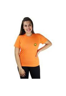 Camiseta Feminina Manga Curta Emoji Língua Cor Do Verão Laranja