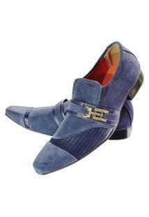 Sapato Masculino Italiano Social Executivo Em Camurça Art Sapatos Azul Suede
