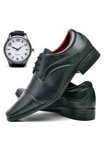 Sapato Social Masculino Asgard Com Relógio New Db 832Lbm Preto