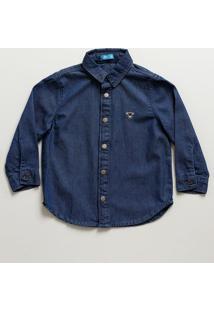 Camisa Infantil Jeans Bordado Manga Longa Mr