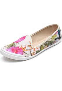 Slipper Moleca Floral Branco