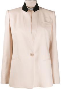 Stella Mccartney Contrast Collar Single-Breasted Blazer - Rosa