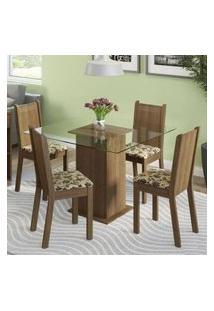 Conjunto Sala De Jantar Madesa Magda Mesa Tampo De Vidro Com 4 Cadeiras Rustic/Bege Marrom