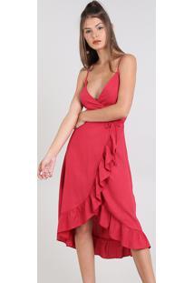 1b27a6a060 Vestido Feminino Midi Envelope Alça Fina Vermelho