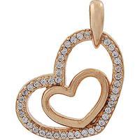 4c5e277236459 Pingente Narcizza Semijoias Coração Vazado Com Detalhes Cristal Ouro Rosê