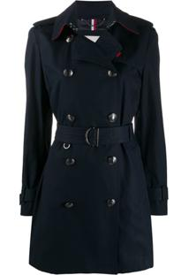 Tommy Hilfiger Trench Coat Com Cinto - Azul