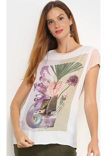 Camiseta T-Shirt Carmim Folhagem Feminina - Feminino-Rosa