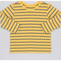 46808e8d0f Camiseta Infantil Básica Listrada Manga Longa Gola Careca Mostarda