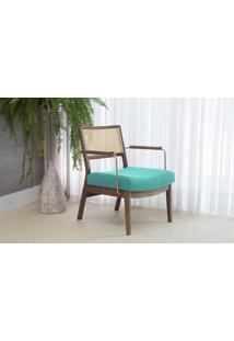Poltrona Decorativa Com Metal Lavanda - Aço Dourado Verniz Capuccino Tec.950 Azul Turquesa 63,5X64X78 Cm