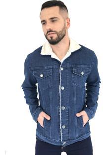 Jaqueta Aero Jeans Slim Azul Com Gola De Pelos