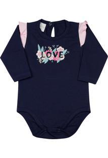 Body Ano Zero Bebê Cotton Bordado Flores Love - Azul-Marinho