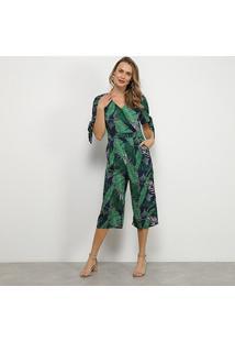 Macacão Lily Fashion Folhagem Feminino - Feminino-Marinho+Verde