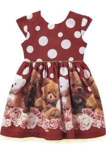 Vestido Libelinha Com Barrado De Poás E Ursos Bordô