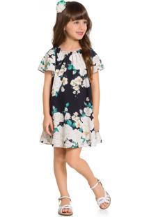 Vestido Infantil Milon Cetim Floral Preto