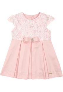 Vestido Infantil Paraiso Tule Bordado E Lacinho Rosa Chá
