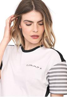 Camiseta Morena Rosa Recorte Branca