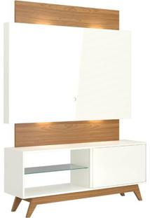 Rack Com Painel Munique 1,40 Mt Com Led Cor Off White Com Freijo - 51617 - Sun House