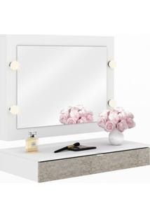 Penteadeira Suspensa Pe2004 Com Painel Espelho Pe2006 Branco/Tecido 381 - Tecno Mobili