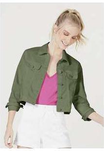 Jaqueta Feminina Em Sarja De Algodão Verde