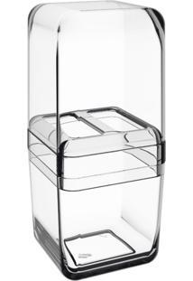 Porta Escova Com Tampa Cube Cristal Coza