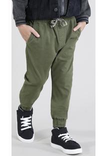 Calça De Sarja Infantil Jogger Com Cordão Verde Militar