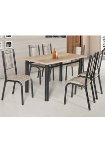 Conjunto De Mesa Com 6 Cadeiras - Bela - Ciplafe - Junco Manteiga