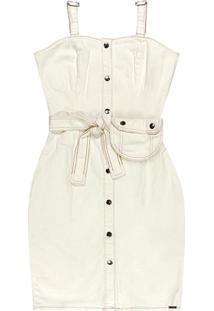 Vestido Off White Curto Rústico