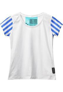 Camiseta Baby Look Feminina Algodão Listrada Estilo Moda - Feminino-Branco+Azul