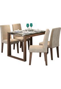 Conjunto De Mesa Anita Para Sala De Jantar Com E 4 Cadeiras Milena -Cimol - Marrocos / Suede Bege