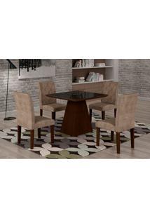 Conjunto De Mesa De Jantar Luna Com 4 Cadeiras Ane Iii Suede Animalle Castor, Preto E Chocolate