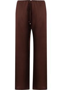 La Perla Calça De Pijama Em Seda Com Detalhe De Macramê - Marrom