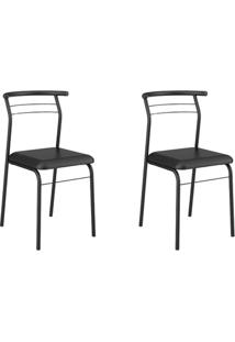 Conjunto 2 Cadeiras Tubo Preto Napa Preta Carraro