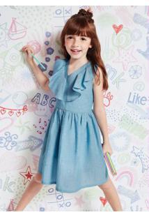 Vestido Azul Popeline Com Babado