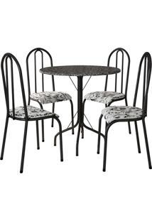 Conjunto De Mesa C/ 4 Cadeiras Alicante Preto Fabone Móveis