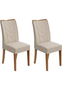 Conjunto De Cadeiras De Jantar 2 Atacama Linho Rovere E Creme