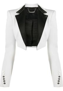 Philipp Plein Cropped Tuxedo Bolero Jack - Branco