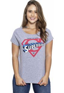 Camiseta Sideway Super Girl - Cinza - Cinza - Feminino - Dafiti