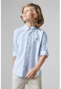 Camisa Cont Oxford Reserva Mini Infantil Masculino - Masculino-Azul