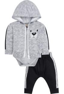 Conjunto Bebê Menino Body + Calça + Jaqueta Milon Branco